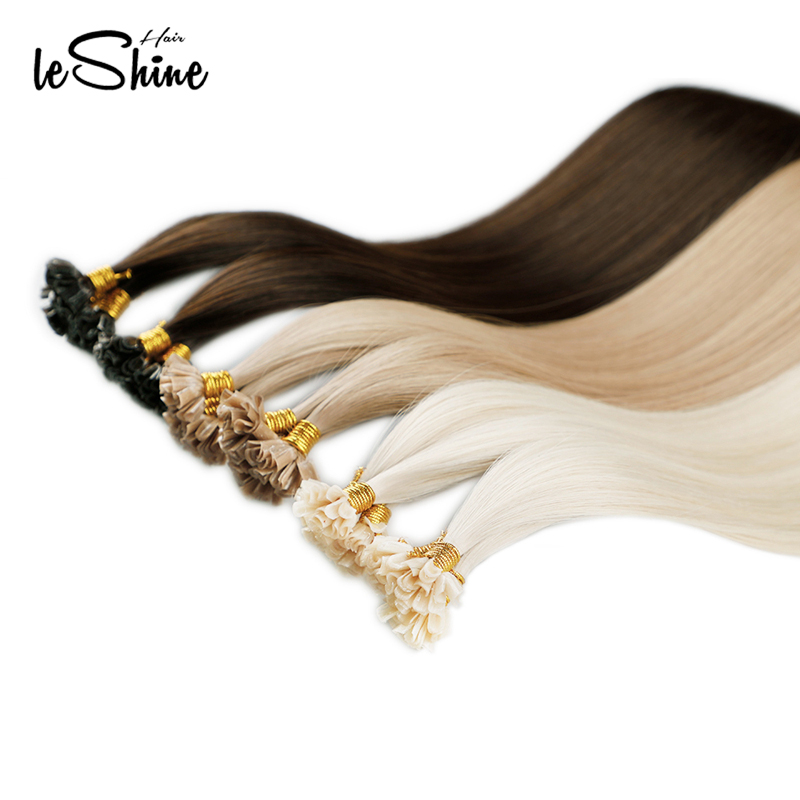 Leshine U Tip Human Hair Extensions Remy Hair Extensions 50strand/Pack Cuticle Aligned Hair Keratin Hair Double Drawn Human Hair