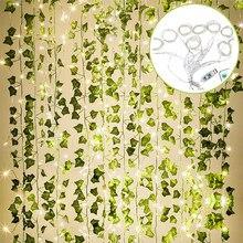 12pack 2,2 m Künstliche Pflanzen Garland Green Leaf Vine Ivy Gefälschte Pflanzen Wand Artifici Rose Hängen Blumen Für Garten hause Hochzeit