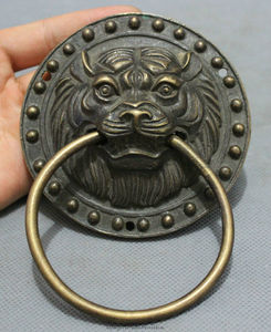 Free Shipping bi002844 Chinese Bronze Copper Carved FengShui Lion Head Statue Palace Mask Door Knocker(China)