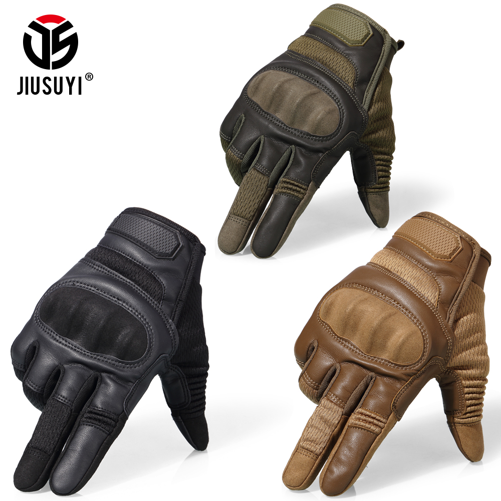 Image 2 - Tactical Military Full Finger Gloves Leather Airsoft Army Combat Touch Screen Anti Skid Hard Knuckle Protective Gear Gloves Men-in Men's Gloves from Apparel Accessories on AliExpress