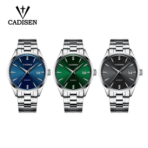 Image 4 - Oryginalna CADISEN Top luksusowa marka mężczyźni pełna stal automatyczny mechaniczny dla mężczyzn selfwind 50M wodoodporna zakrzywiona powierzchnia ultracienki zegarek