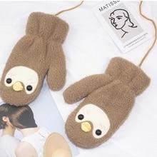Cotton Gloves Korean-Version Winter Ladies Cute New Thick Penguin Cartoon of Plush Hanging-Neck