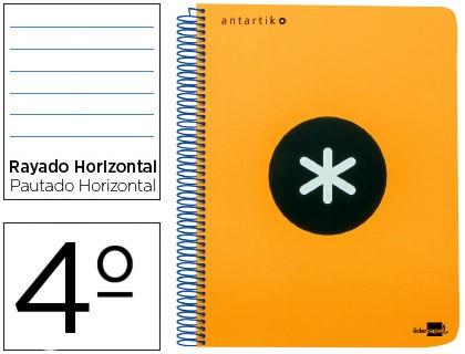 SPIRAL NOTEBOOK LIDERPAPEL A5 ANTARTIK HARDCOVER 80 H 100 G HORIZONTAL WITH MARGIN COLOR ORANGE FLUORESCENT