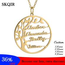 Personalized Customization 4 Name Necklace Tree of Life Babygirl Pendant Gold Friendship Jewelry for Women Man Gift