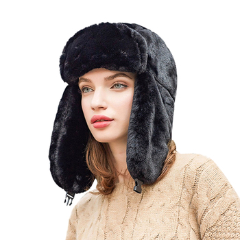 Women Faux Fur Trapper Hat Russian Ushanka Cossack Ski Earflaps Aviator Cap Winter Warm Velvet Bomber Hat 5 Colors image
