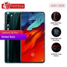 """Rom global lenovo z6 pro 6gb 128gb smartphone snapdragon 855 octa núcleo 6.39 """"1080p display de impressão digital traseira 48mp quad câmera"""