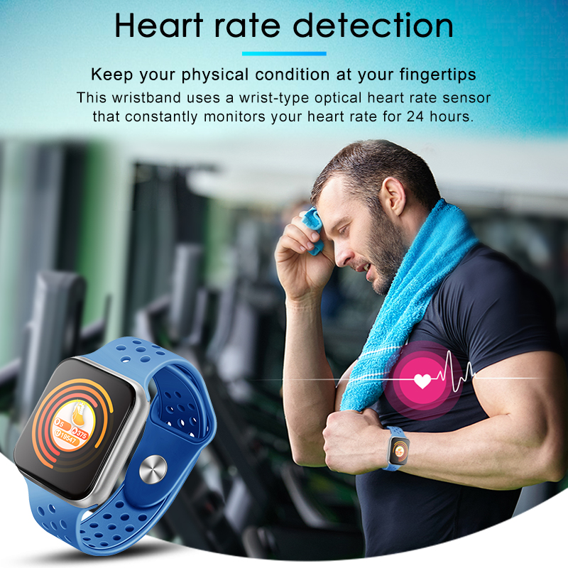 F9 s PK iwo8 b57 Touch Screen smart watches to Monitor Heart rate and Blood pressure Supported for IOS Android for men women 1