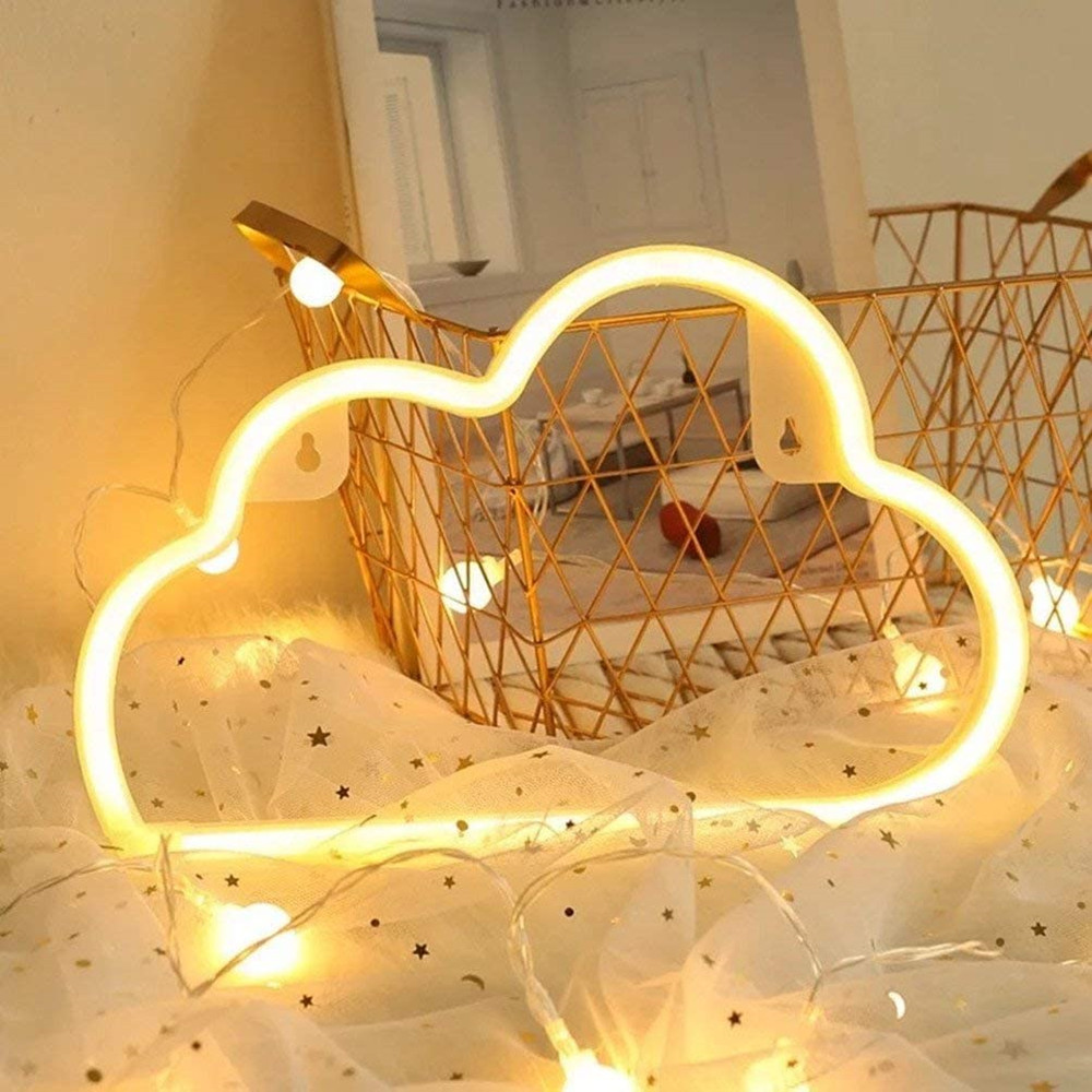 Battery/USB Operated Cloud Neon Light Signs Night Light Art Decorative Lights Wall Lamp for Kids Baby Room Holiday Lighting Xmas image