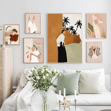 Fashion Girl Cat Green Plants Wall Art Canvas Painting Nordic Posters And Prints Abstract Wall Pictures For Living Room Decor цена 2017