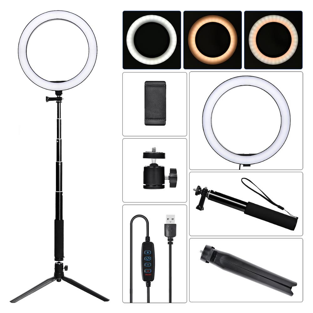 fosoto <font><b>16</b></font>/26cm Photographic Lighting 3200K-5500K Dimmable Led <font><b>Ring</b></font> <font><b>Light</b></font> Lamp Photo Studio Phone Video Beauty Makeup with tripod image