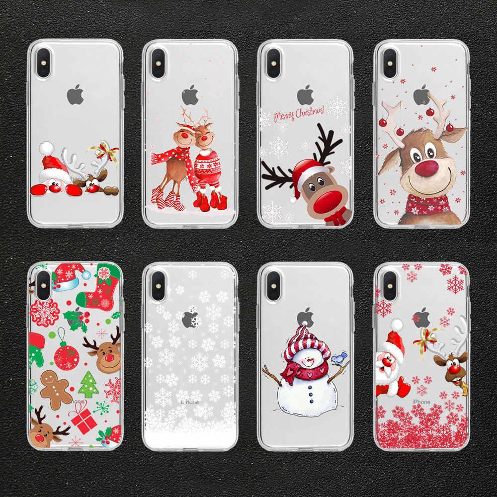 هدايا عيد الميلاد السنة الجديدة الأيائل سنو جراب هاتف آيفون 11 برو XR 6s 7 Plus 5s X XS ماكس غطاء من السيليكون لهواوي P30 P20 لايت