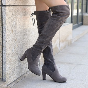 Image 4 - Women Thigh High Boots Fashion Suede Leather High Heels Lace up Female Over The Knee Boots Plus Size Shoes Drop Shipping 2020