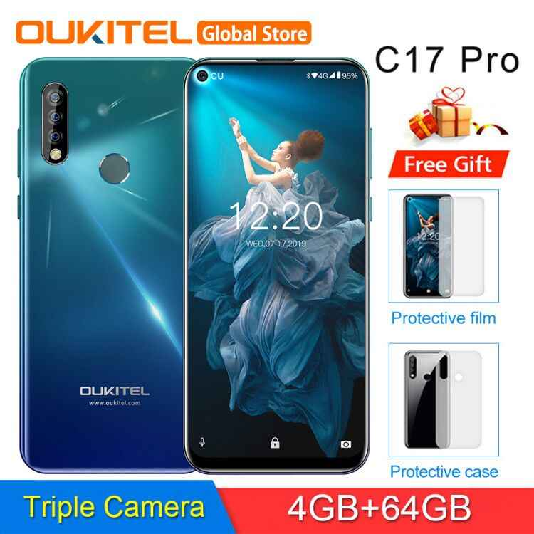 OUKITEL C17 Pro 6.35 ''Android 9.0 19:9 MT6763 4GB 64GB Smartphone Face ID Octa Core 3900mAh Triple caméra 4G téléphone portable