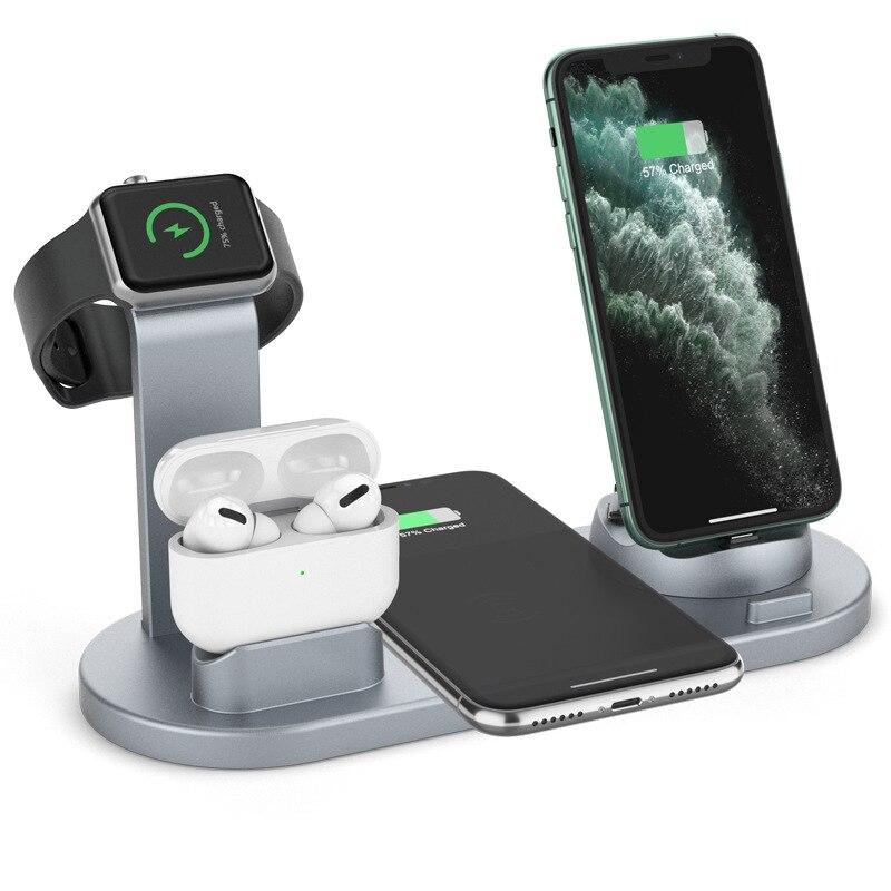 Stazione di ricarica a induzione per caricabatterie Wireless veloce 3 In 1 per IPhone Huawei Xiaomi Samsung Dock Station di ricarica per Apple Watch 1