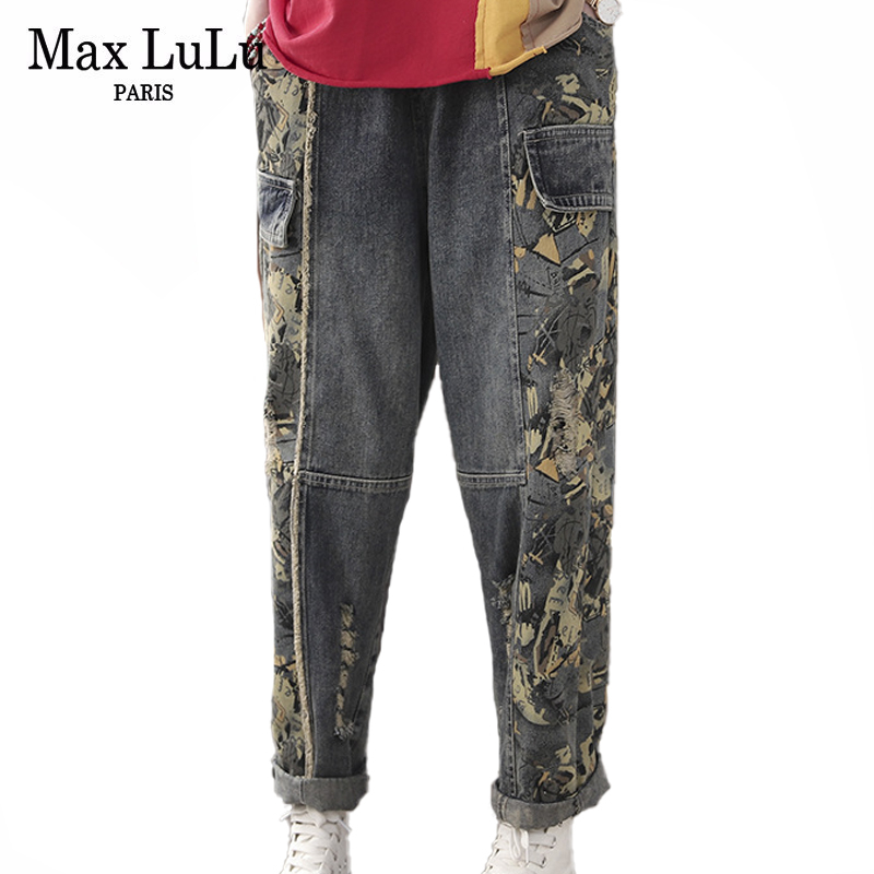 Max LuLu 2020 Chinese Style Ladies Fashoin Spring Printed Harem Pants Womens Elastic Jeans Loose Patchwork Ripped Denim Trousers