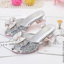 Frozen Princess Kids Leather Slippers for Girls Bow Shoes Glitter Children High Heel Girls Elsa Sandals Butterfly Knot