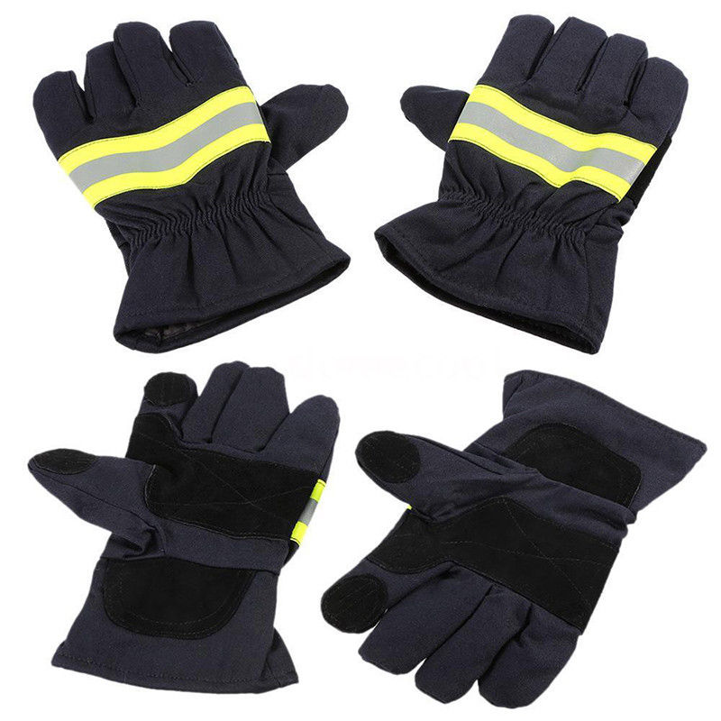 1 Pair Black Non-slip Heat Proof Gloves Fire Proof Gloves Firefighting Gloves For Welding And Cold Weather Protection