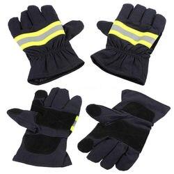 1 par preto antiderrapante luvas à prova de calor luvas à prova de fogo luvas de combate a incêndios para soldagem e proteção contra o tempo frio