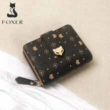 Foxer Cartera de mujer estampado de Mini cartera elegante bolsa de dinero de Señorita de PVC carteras titular de la tarjeta de mujeres monedero clásico cartera corto