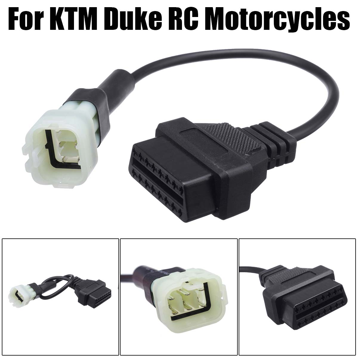 NEW 1Pcs 6 Pin To OBD 16 Pin Adapter 6 Pin To OBD2 Cable For For KTM Duke RC Motorcycles 2011~2017 Motorbikes ECU