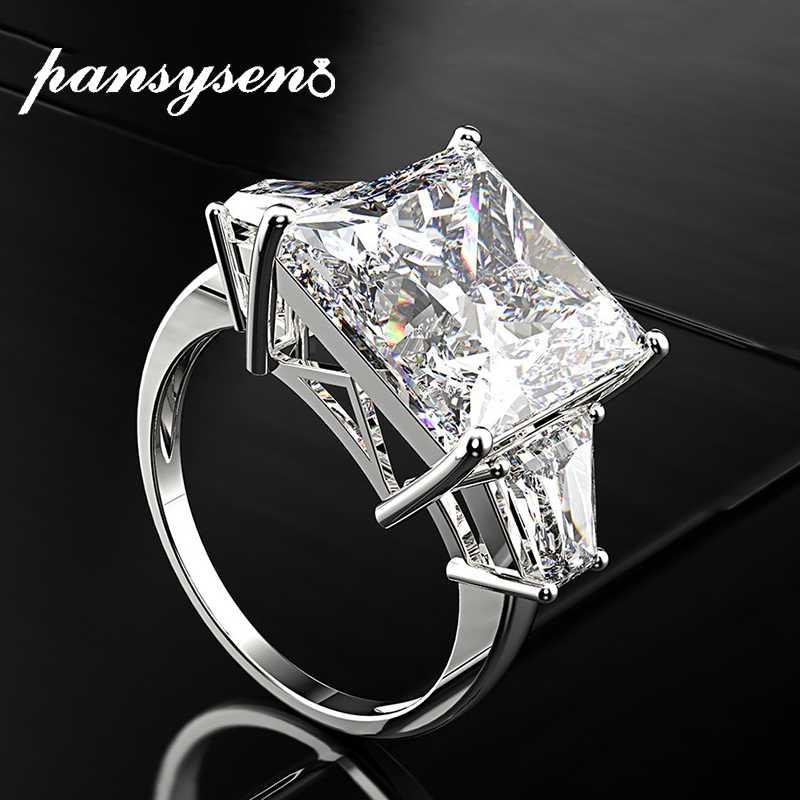 PANSYSEN 16ct גבוהה פחמן אבן ספיר חתונת אירוסין טבעות נשים גברים נדל 925 כסף בסדר תכשיטי טבעת מתנה