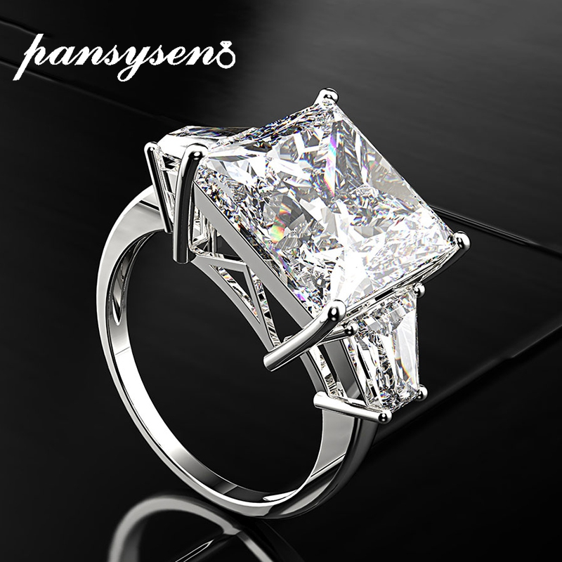 PANSYSEN 16ct High Carbon Stone Sapphire Wedding Engagement Rings For Women Men Real 925 Sterling Silver Fine Jewelry Ring Gift