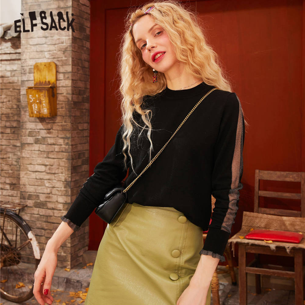 ELFSACK Black Solid Hollow Out Elegant Pullovers Knit Women Sweaters 2020 Spring Beige Pure Long Sleeve Casual Ladies Basic Top