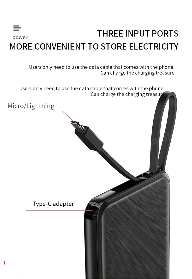 Portable 10000mAh Charging Power Bank For Xiaomi iPhone Samsung Mobile Phone 17