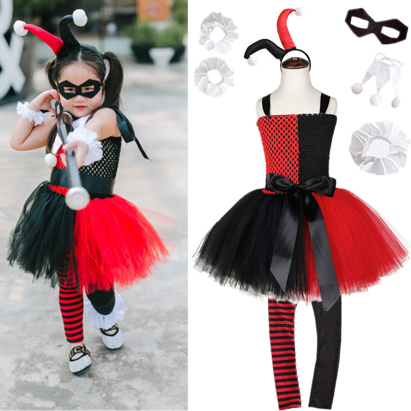 Suicide Squad Clown Female Harry Quinn Anime Cosplay Costumes Carnival Halloween Christmas Party Clothing COS Dress For Girls