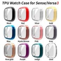 Funda ligera de TPU para Fitbit Sense Versa 3, funda para reloj, Protector de pantalla para Versa3, accesorios de parachoques suave