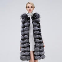 100% genuine real silver fox fur stripes vest collar sleeveless coat clothing women2019 real fur coat