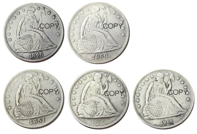 フルセット (1846-1860) -O 5 個着席シルバーメッキドル 1 ドル硬貨小売レプリカ