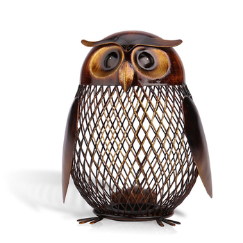Tooarts Piggy Bank Owl Figurine Money Box Metal Coin Box Saving Box Home Decoration Crafts Gift For coins new year decorations