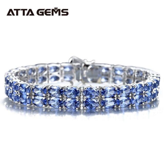 Tanzanite סטרלינג כסף צמיד 58 חתיכות של טנזנייט מלכותי יוקרה סגנון לנשים תכשיטים חדש שנה מתנות