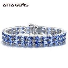 Tanzanite gümüş bilezik 58 adet Tanzanite kraliyet ve lüks stil kadınlar için güzel takı yeni yıl hediyeleri