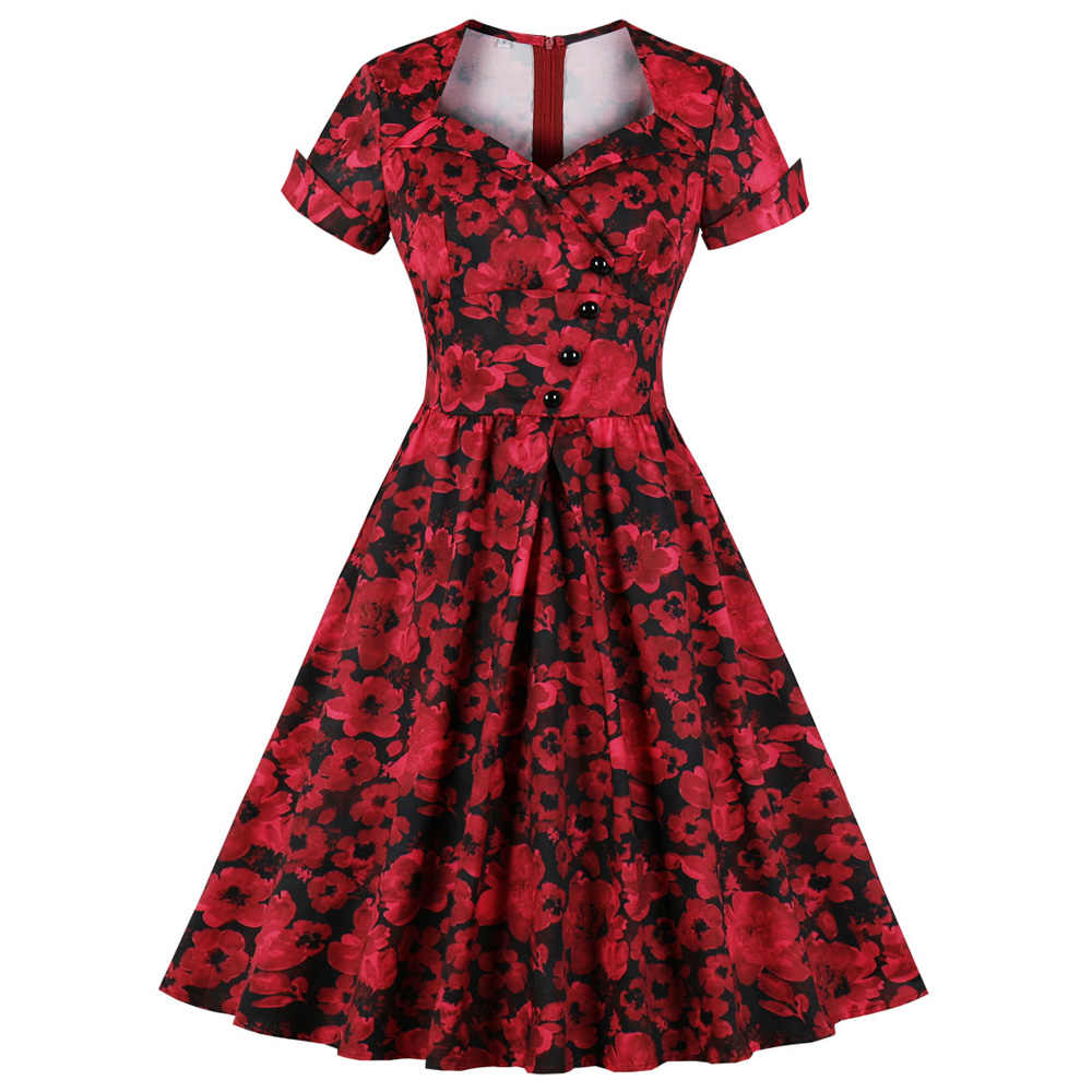Red Floral Print Women Vintage Dress Autumn Square-Cut Neck Short Sleeve Female Party Dresses Pin Up Swing Feminino Vestidos