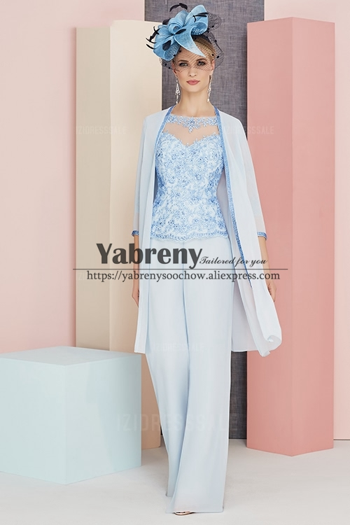 Delicate Beaded Lace Trouser Suit For Mother Of The Bride 3PC Sky Blue Chiffon Pantsuit