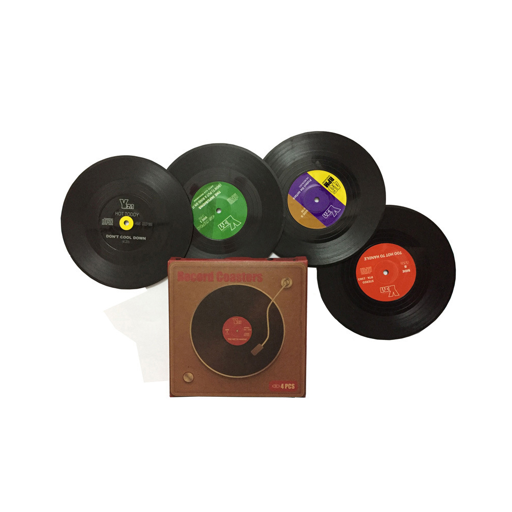 Vinyl Record Table Mats Drink Coaster Table Placemats Creative Coffee Mug Cup Coasters 2 4 6 PCS Heat-resistant Nonslip Pads 1