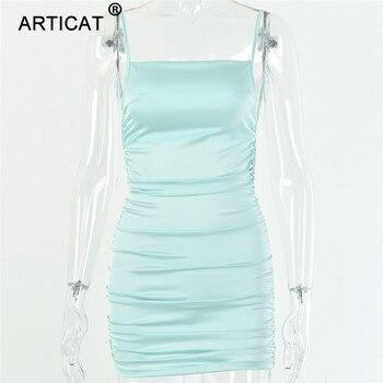 Articat Spaghetti Strap Mini Satin Dress Women Sexy Backless Cross Bandage Bodycon Party Dress Pleated Stretch Short Club Dress 10