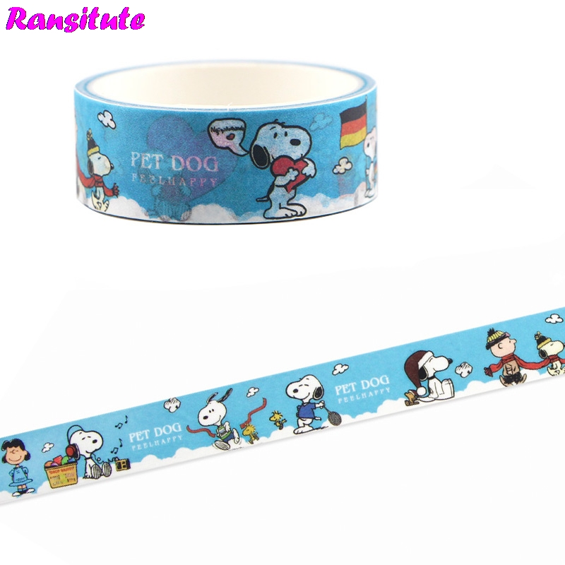 Ransitute  Cartoon Cute Dog Color Washi Tape DIY Scrapbook Decoration Masking Decoration Tool Color Masking Tape  R660