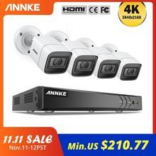 ANNKE 4K Ultra HDวิดีโอระบบ 8CH 8MP H.265 DVR 4PCS 8MPกล้องรักษาความปลอดภัยสภาพอากาศกลางแจ้งชุดกล้องวงจรปิดกล้องCCTV Kit