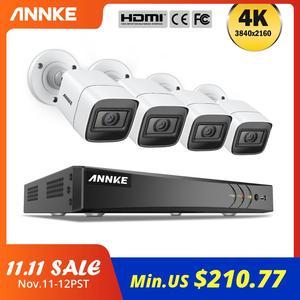 Image 1 - ANNKE 4K Ultra HD Video Überwachung Kamera System 8CH 8MP H.265 DVR Mit 4PCS 8MP Outdoor Wetter Sicherheit kamera CCTV Kit
