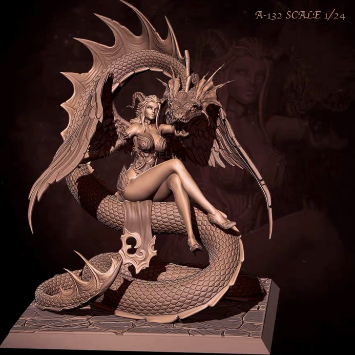 1/24 Resin Fiugre Kits Snake Beauty Model Self-assembled A-132