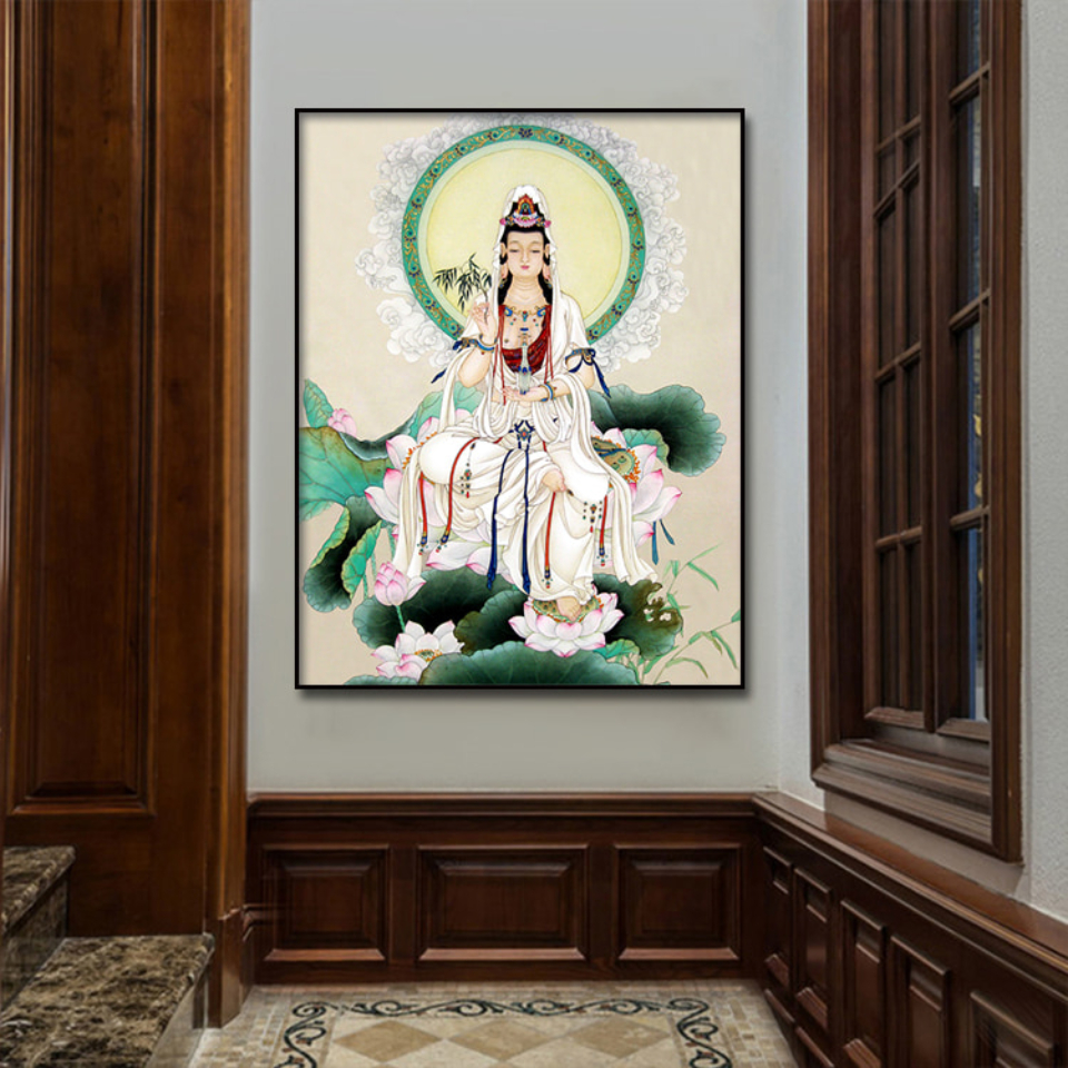 Gongbi Guanyin Buddha Statue Canvas Poster  Wall Art Print Modern  Painting Nordic Kid Bedroom Decoration Picture (2)