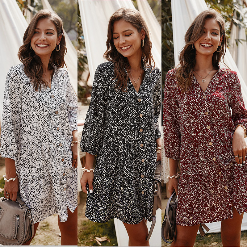 2020 New Fashion Women V Neck Floral Dress Spring Summer Cropped Sleeve Dress Beach Holiday
