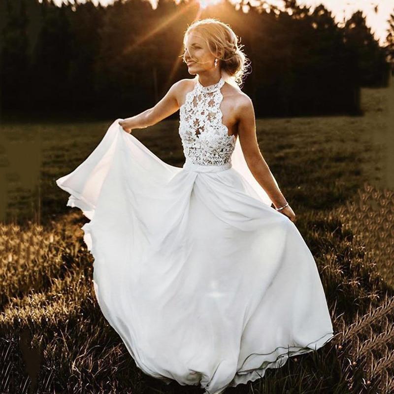 Suknia Slubna Sex Wedding Dress Halter Neckline Lace Appliques A-line Chiffon Bridal Gown Wedding Gowns Vestidos Novias Boda