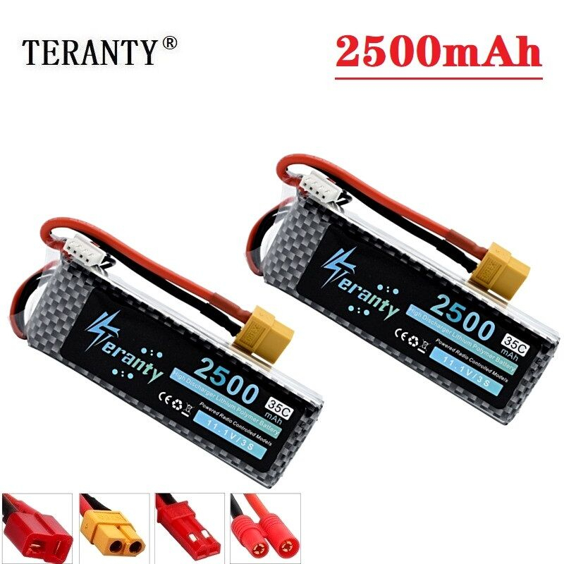 TERANTY Power 2Pcs/Lot <font><b>11.1V</b></font> <font><b>2200mAh</b></font> 2500mAh MAX 60C <font><b>battery</b></font> for RC Robots Car Boats RC Drone Part <font><b>11.1v</b></font> <font><b>battery</b></font> 3s <font><b>lipo</b></font> <font><b>battery</b></font> image