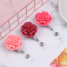 1PC New Resin Rose Shape Retractable Nurse Badge Anti-Lost Clip Key Ring Lanyards Doctor ID Card Badge Holder Office Supplies