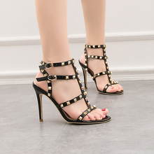 T Type Double Buckle Rivet Sandals For Women Fashion Gladiator Sandal Woman Summer Footwear Black High Heels Party Skirt Shoes