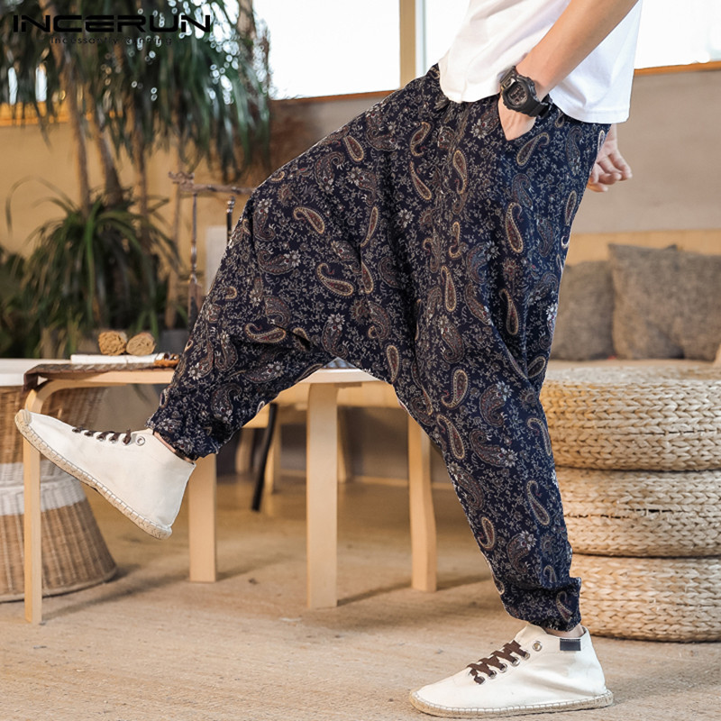 INCERUN Trousers Men Drop-Crotch Streetwear Pants Print Hip-Hop Vintage Baggy S-5XL Dance